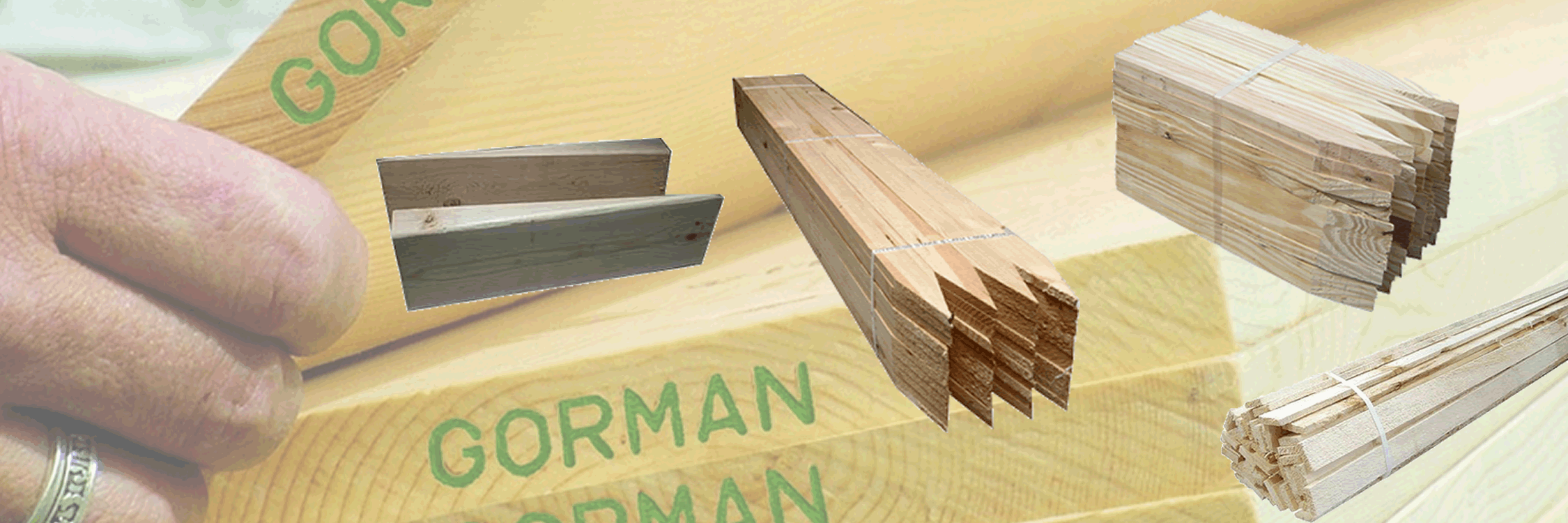 gorman 1x boards background with lath and stakes in forground