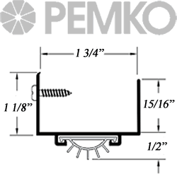 pemko 217v door sweeep dimensioned section